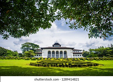Bandung, Indonesia (01/2019) : View of Gedung Sate, an Old Historical building with art deco style. Nowadays it is become a Governor Office,  icon and landmark of Bandung, West Java, Indonesia.