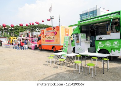 Bandung, Indonesia - 06th 04 2016: Food Truck Serving Food on the Street