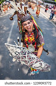 Bandung, Indonesia (11/2015) : Performing of Dayak Traditional dance in Cultural festival and parade that held in Bandung, west Java, Indonesia.