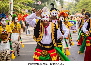 Bandung, Indonesia (11/2015) : Performing of Punakawan Puppet dance from East Java Province  in Cultural festival and parade that held in Bandung, west Java, Indonesia.