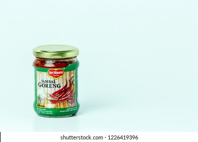 Bandung, Indonesia - 17th May 2015: Isolated Del Monte Sambal Goreng on a White Background