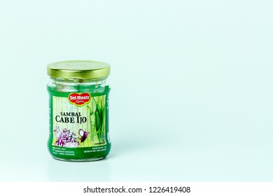 Bandung, Indonesia - 17th May 2015: Isolated Del Monte Sambal Cabe Ijo on a White Background