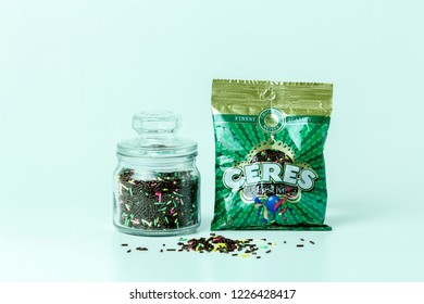 Bandung, Indonesia - 17th May 2015:  Isolated Ceres Chocolate Sprinkles on a White Background