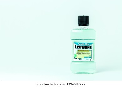 Bandung, Indonesia - 17th May 2015: Isolated Listerine Mouth Wash on a White Background