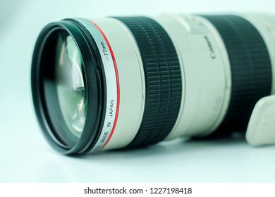 Bandung, Indonesia - 17th May 2015: Isolated Canon EF 70-200mm F/2.8 Lens on a White Background