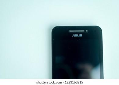 Bandung, Indonesia - 18th February 2015: Isolated Smartphone Asus Zenfone 4
