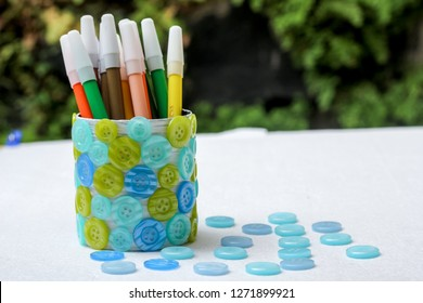 Bandung, Indonesia - 19th 09 2014: DIY Pencil Case, Recycling and Crafting Idea from Milk Can