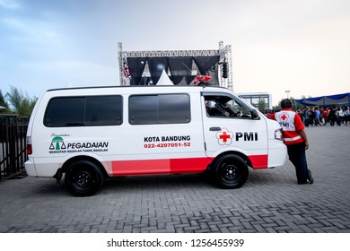 Bandung, Indonesia - 21st 02 2015: An Ambulance Parking on the Side on the Road