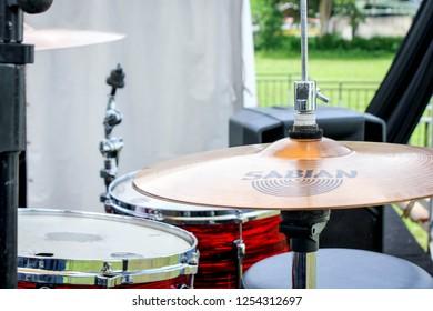 Bandung, Indonesia - 21st 05 2015: A Hi Hat Cymbals