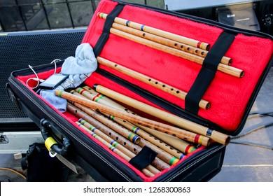 Bandung, Indonesia - 28th 05 2014: Seruling Bambu (Bamboo Flute) Indonesian Traditional Music Instrument