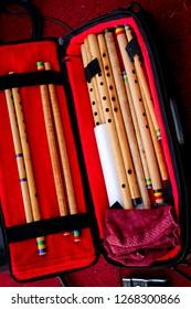 Bandung, Indonesia - 28th 05 2014: Seruling Bambu (Bamboo Flute), Indonesian Traditional Music Instrument