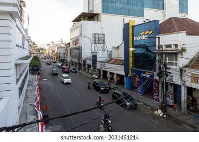 Bandung, Indonesia - August 15, 2021: Street atmosphere at pasar Baru and Alun Alun, Bandung.