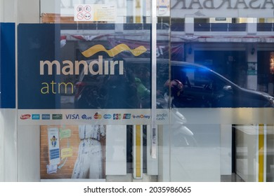 Bandung, Indonesia - August 15, 2021: Atm entrance of Bank Mandiri around Pasar Baru, Bandung.