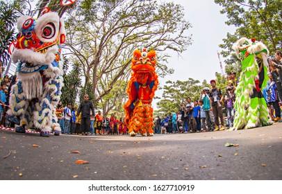 Bandung, Indonesia : barongsai dance, a traditional chinese lion dance in Kemilau Nusantara festival, a cultural festival held in Bandung, Indonesia (11/2015).