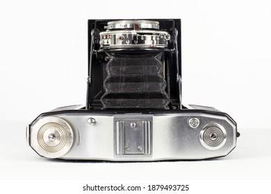 Bandung, Indonesia - December 2020.   Zeiss Ikon Nettar camera with Novar Anastigmat 75mm f4.5 lens.