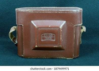 Bandung, Indonesia - December 21, 2020. Zeiss Ikon Nettar medium format camera in an original Zeiss Ikon Nettar leather case.