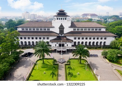 Bandung - Indonesia. February 18, 2019: Aerial view of ancient Gedung Sate architecture in Bandung, West Java, Indonesia