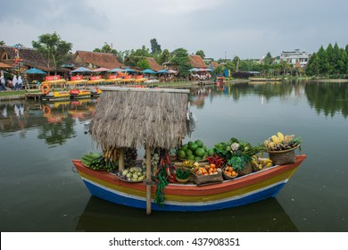 BANDUNG, INDONESIA - JANUARY 21 2016: View around the floating market in Lembang, Bandung, Indonesia.