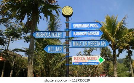 Bandung, Indonesia - July 7, 2018: Direction or sign or Floating Market Lembang in Bandung Barat, West Java.