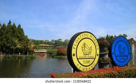 Bandung, Indonesia - July 7, 2018: View of man-made lake at Floating Market Lembang, West Java.