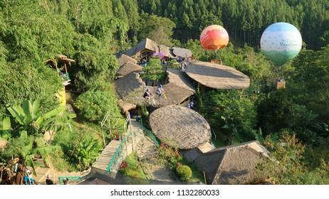 Bandung, Indonesia - July 7, 2018: View of The Lodge Maribaya in Lembang, West Java.