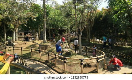 Bandung, Indonesia - July 7, 2018: View of the Rabbit Park or Taman Kelinci at Floating Market Lembang, West Java.