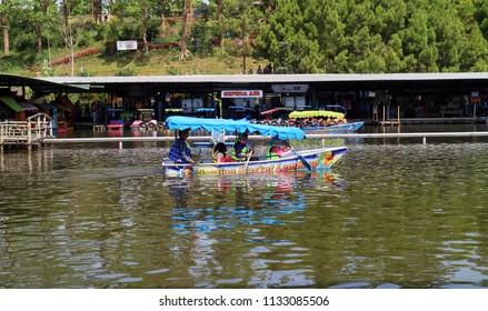 Bandung, Indonesia - July 7, 2018: Boat in Floating Market Lembang, West Java.