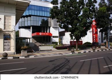 Bandung, Indonesia June 1, 2020: Bank OCBC NISP at asia afrika street bandung