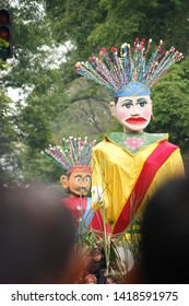 Bandung, Indonesia - June saturday 2019. Potrait of the Ondel-ondel traditional art in the glorious archipelago carnival