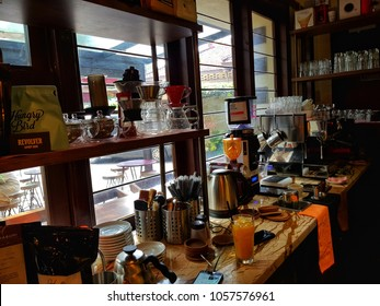 Bandung, Indonesia - March 2018 : In milenial era people like coffee shop to kill their time