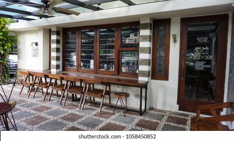 Bandung, Indonesia - March 2018 : Milenial age prefer coffee shop than office room