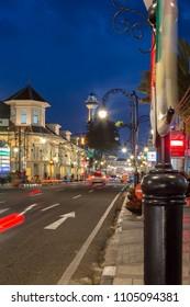 Bandung, Indonesia - May 7 2015: Evening Atmosphere at the Historical Road Asia Afrika, Bandung