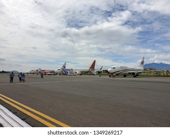 Bandung, Indonesia - November 14, 2018. An airplane with passengers at the Bandung Airport in Bandung, Indonesia.