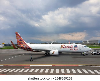 Bandung, Indonesia - November 14, 2018. An airplane ready to takeoff at the Bandung Airport in Bandung, Indonesia.