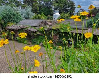 Bandung, Indonesia - November 15, 2018 : Beautiful view of Hobbit House at Farm House in Lembang, Bandung, Indonesia