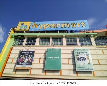 Bandung, Indonesia - October 14, 2018: Hypermart Namesign at Facade of Metro Indah Mall Exterior with Blue Sky
