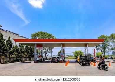 Bandung, Indonesia - October 20, 2018: Indonesian Pertamina Gas Station