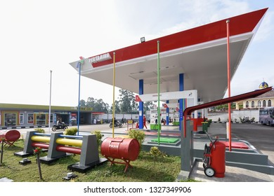 Bandung, Indonesia - October 20, 2018: Indonesian Pertamina Gas Station. PERTAMINA is based in Jakarta and the world's largest producer and exporter of Liquefied Natural Gas (LNG)