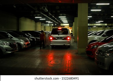 BANDUNG, INDONESIA - October 4, 2019; The Paris Van Java Mall basement parking lot is full of parking cars