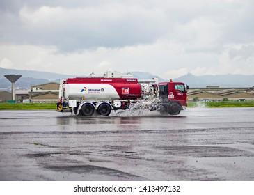 Bandung, Indonesia : Pertamina truck delivered oil in Husein Sastranegara Airport (04/2017).