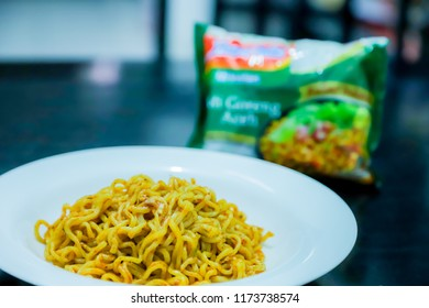 Bandung, Indonesia - September 4, 2018: Indomie Mi Goreng Aceh (Instant Fried Noodles) Traditional Aceh Noodles