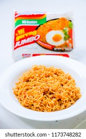 Bandung, Indonesia - September 4, 2018: Indomie Mi Goreng Jumbo (Instant Fried Noodles Jumbo) Big Portion