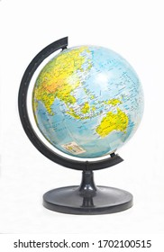 Bandung, Indonesia : World globe isolated on white background (03/2020).