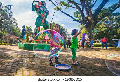 Bandung, west Java, Indonesia (08/15/2016) : City park in Bandung become a family destination for recreation. Taman PKK, a famous city park in Bandung.