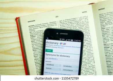 """Bandung, West Java / Indonesia - April 24, 2016 : Dictionary Application in a Smartphone with Highlighted Word """"Dictionary"""""""