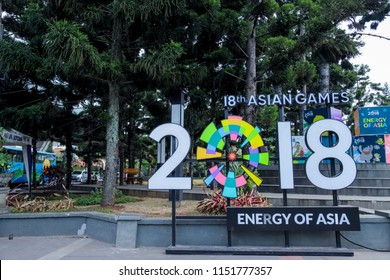 Bandung, West Java / Indonesia - August 06th, 2018: 18th Asian Games 2018 Logo, Icon, and Name Sign