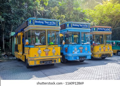 Bandung, West Java / Indonesia - August 07, 2018: Bandros or Bandung Tour on Bus, a Sightseeing City Tour Bus for Tourists in Bandung, West Java, Indonesia, Asia
