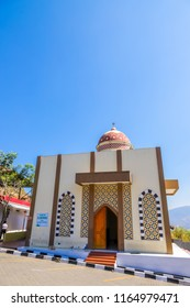 Bandung, West Java / Indonesia - August 19, 2018: Small Mosque at Pertamina Gas Station (Pom Bensin) Lingkar Nagreg with Blue Sky
