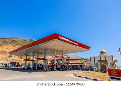 Bandung, West Java / Indonesia - August 19, 2018: Pertamina Gas Station (Pom Bensin) at Lingkar Nagreg with Blue Sky