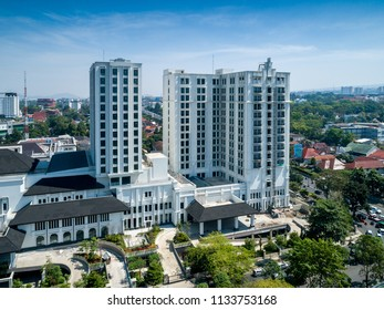 Bandung, West Java / Indonesia - July 7, 2018: Aerial View of Pullman Bandung City Center Hotel (Under Construction)